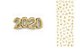 Merry christmas and Happy New Year 2020 vector gold design. 3d art and outline simbols style.