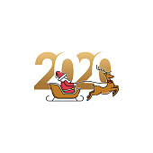 Merry Christmas and Happy New Year 2020 Vector holiday background. Happy New Year 2020 with Santa Claus on a sleigh with deer colorful vector illustration isolated on white background.