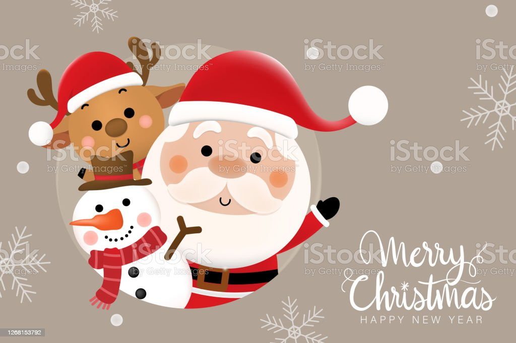 merry christmas and happy new year 2021 greeting card with cute santa claus deer and snowman holiday cartoon character in winter season vector stock illustration download image now istock merry christmas and happy new year 2021 greeting card with cute santa claus deer and snowman holiday cartoon character in winter season vector stock illustration download image now istock
