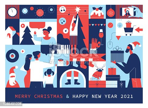 istock Merry Christmas And Happy New Year 2021 Greetings 1285491228