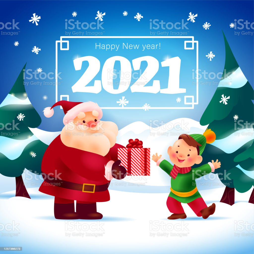 merry christmas and happy new year 2021 illustration with santa claus give presents to little smiling boy on winter forest landscape stock illustration download image now istock merry christmas and happy new year 2021 illustration with santa claus give presents to little smiling boy on winter forest landscape stock illustration download image now istock