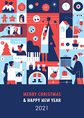 Flat modern greeting card depicting coronavirus safe and joyful holiday season concept. Represented themes: video call, online shopping, decorating home, staying at home, enjoying festive food and drink, giving and receiving gifts, listening Christmas songs…