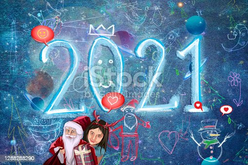 istock Merry Christmas and Happy New Year 2021 1288288290