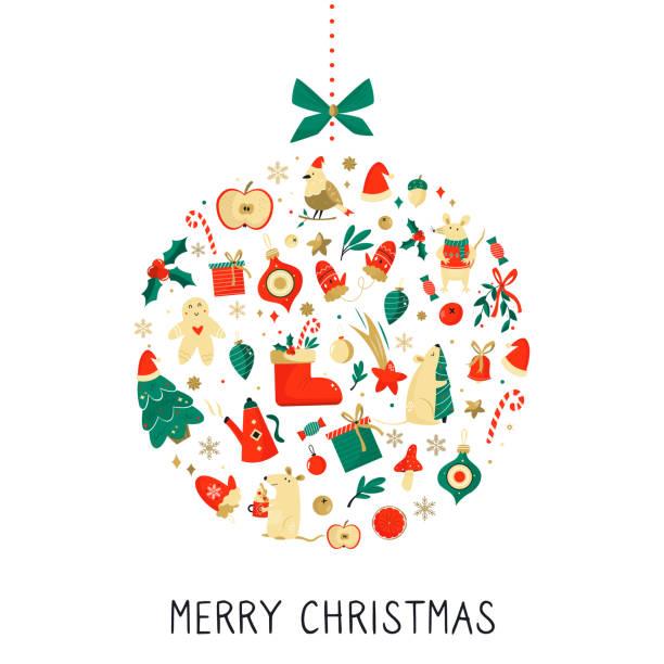ilustrações de stock, clip art, desenhos animados e ícones de merry christmas and happy new year abstract design. holiday decoration vector graphic design - hygge