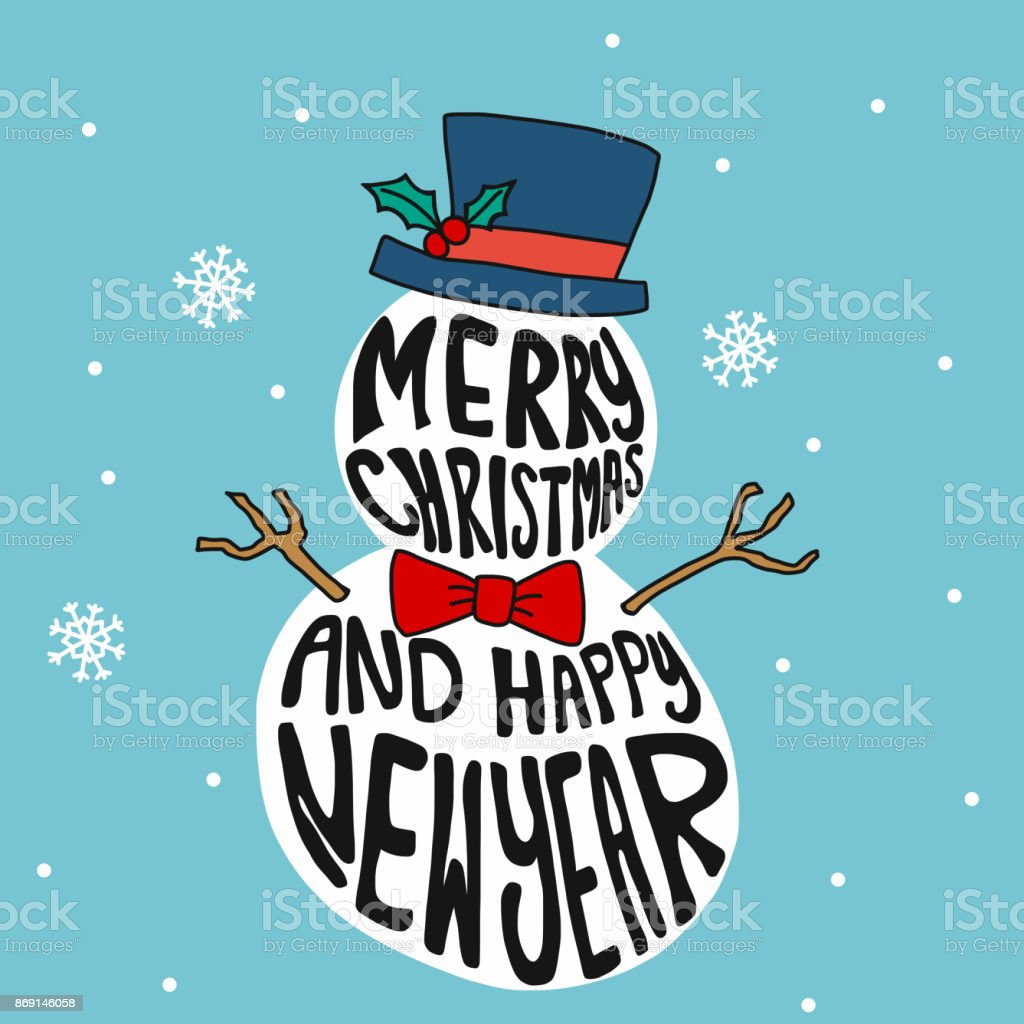 merry christmas and happy new year and snow man royalty free merry christmas and happy