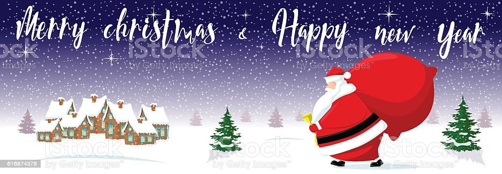 Merry Christmas And Happy New Year Background Cute Santa Claus Royalty Free