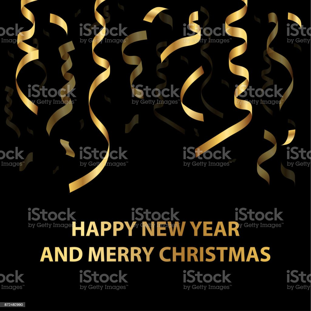 Merry Christmas and Happy New Year background. Golden serpentine on a black background. vector art illustration
