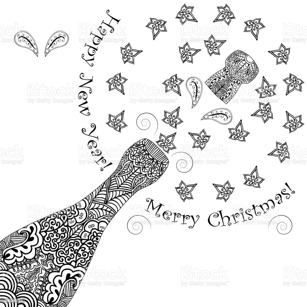merry christmas and happy new year background opening patterned champagne bottles with cork monochrome