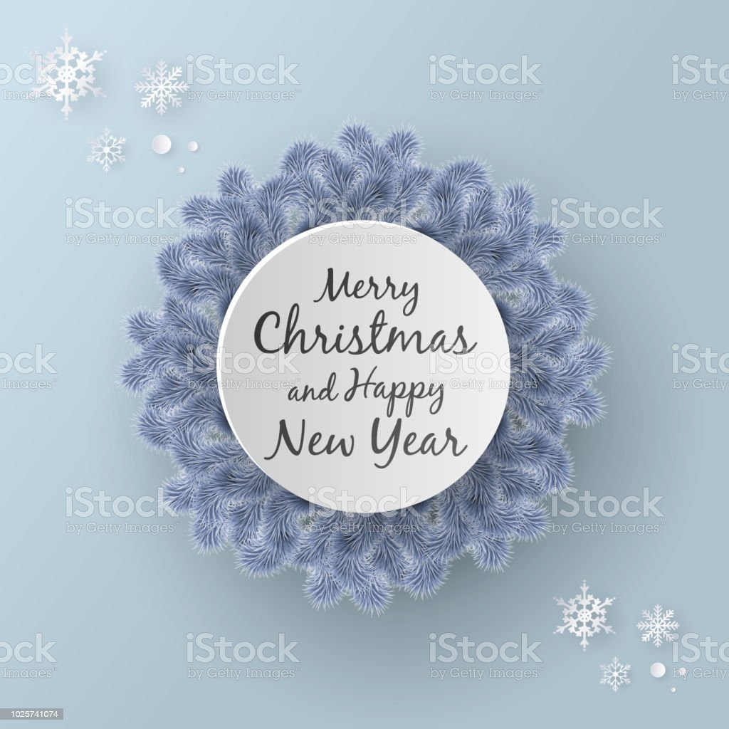 merry christmas and happy new year background paper art or paper cut style royalty