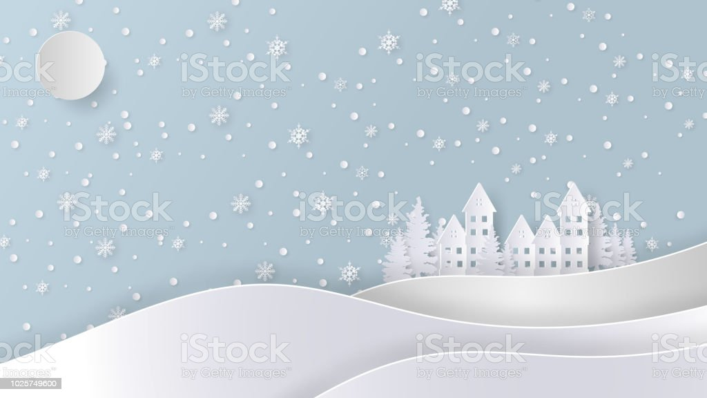 Merry Christmas And Happy New Year Background Paper Art Or Paper Cut