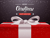 Merry Christmas And Happy New Year Background Red Gift Box With White Ribbon Bow Holiday Greeting Card Design Vector Illustration