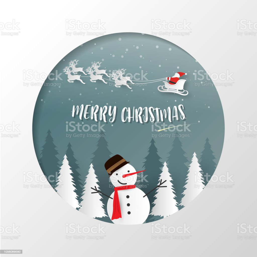 merry christmas and happy new year background santa claus snowman and christmas tree