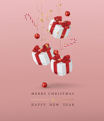 Merry Christmas and Happy New Year background. Vector illustration.