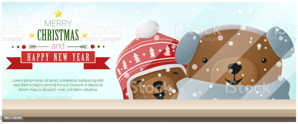 merry christmas and happy new year background with bears standing behind window vector illustration