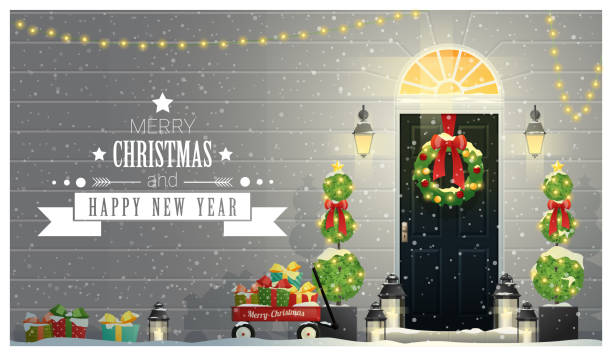 Merry Christmas and Happy New Year background with decorated Christmas front door , vector , illustration Merry Christmas and Happy New Year background with decorated Christmas front door , vector , illustration porch stock illustrations