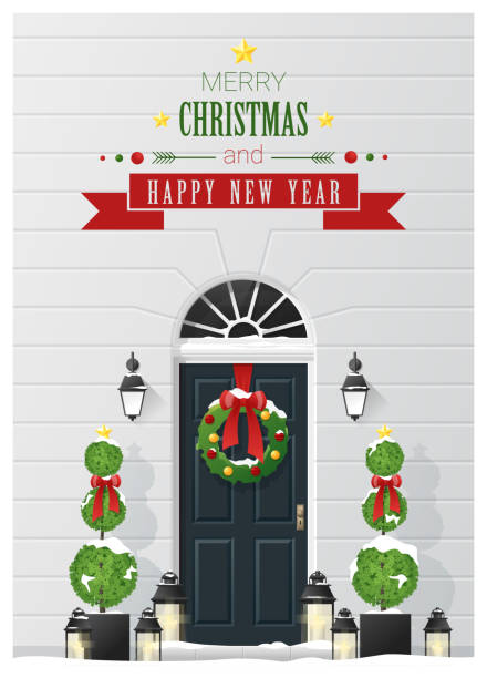 Merry Christmas and Happy New Year background with decorated Christmas front door , vector , illustration Merry Christmas and Happy New Year background with decorated Christmas front door , vector , illustration front door stock illustrations