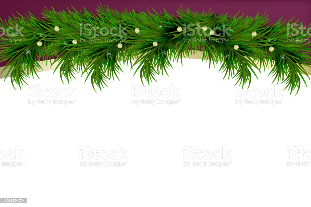 merry christmas and happy new year background with fir branches isolated on white background modern
