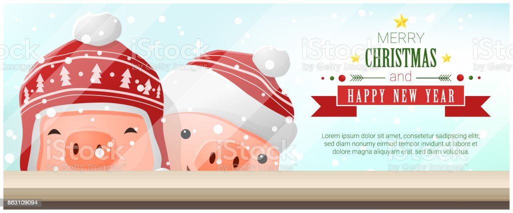 merry christmas and happy new year background with pigs standing behind window vector illustration