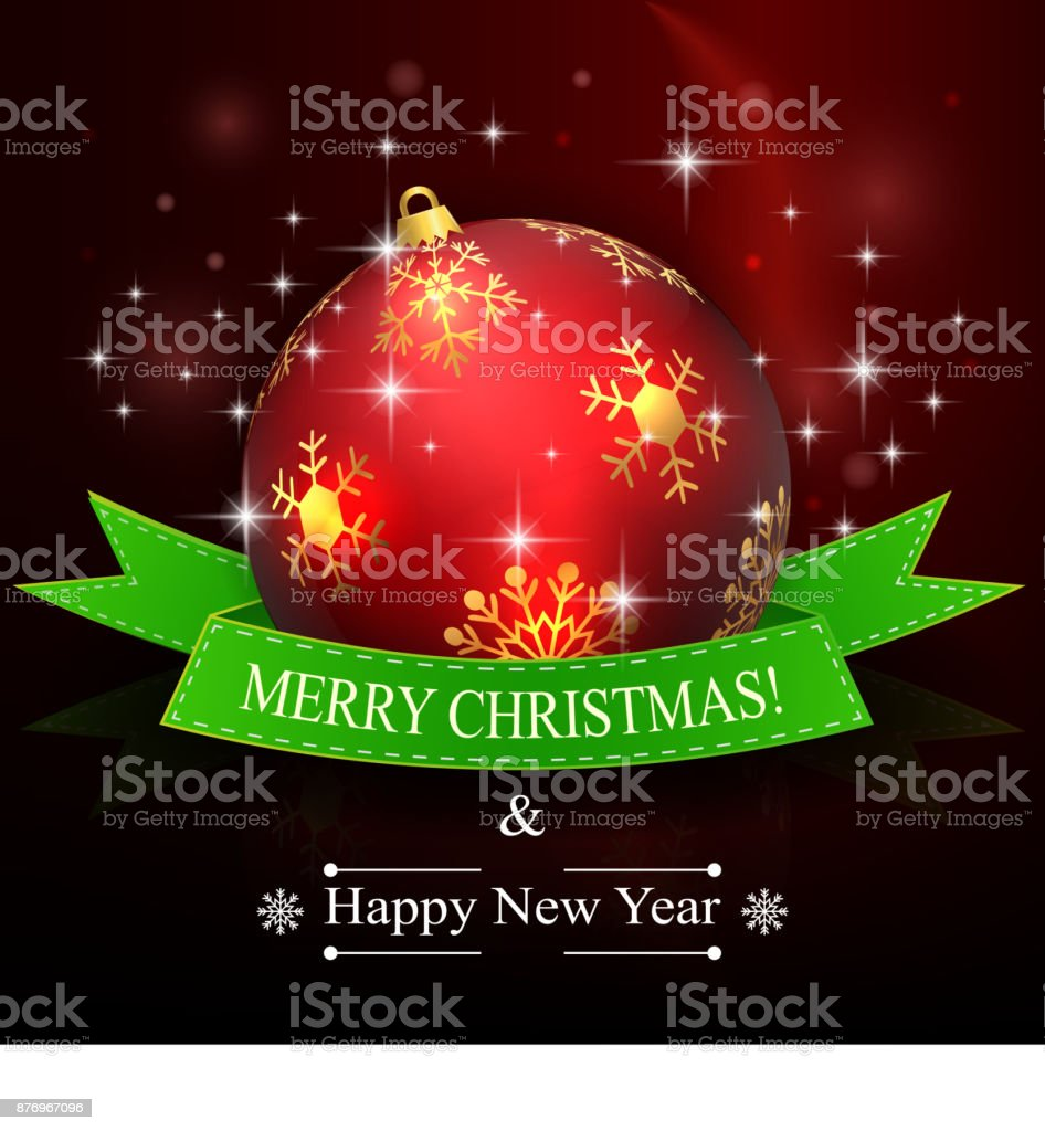 merry christmas and happy new year background with red ball and ribbon royalty free merry