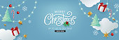 Merry christmas and happy new year banner background with Xmas festive decoration.Happy New Year poster, greeting card, header, website.Merry Christmas text Calligraphic Lettering Vector illustration.