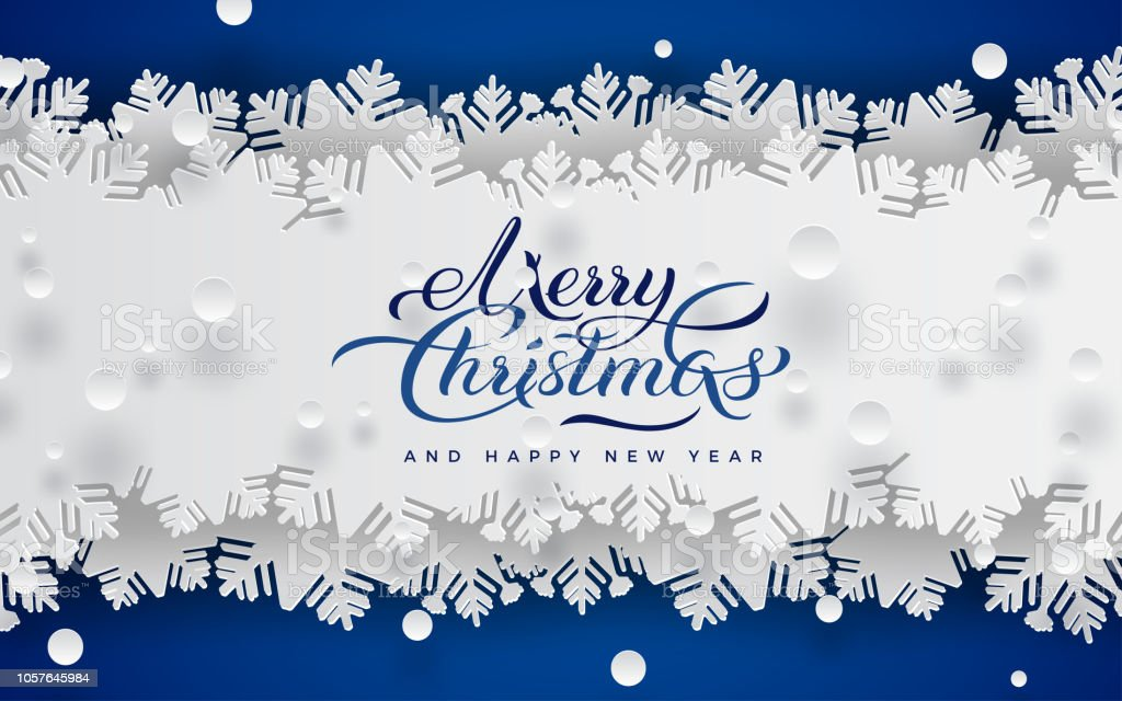 merry christmas and happy new year banner blue background white lace ribbon decoration with