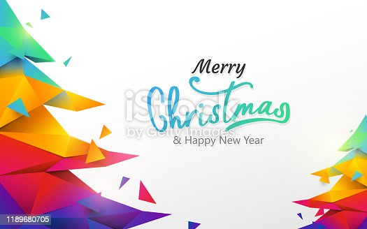istock Merry Christmas and Happy new year banner. Colorful Christmas tree polygon on white background 1189680705