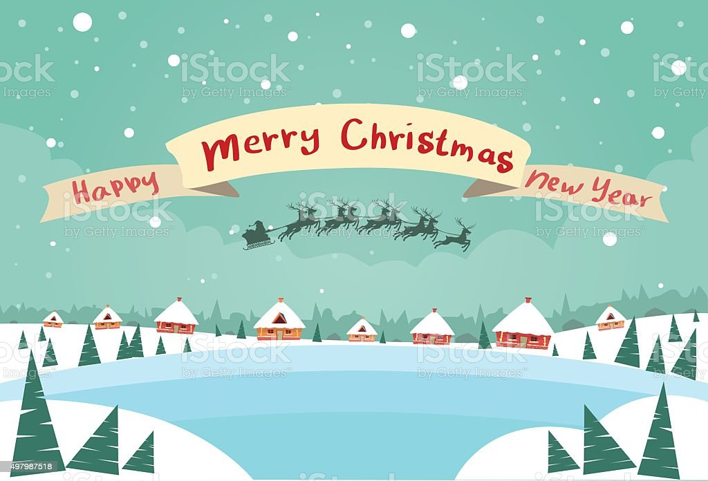 merry christmas and happy new year banner santa claus sleigh royalty free merry christmas and