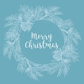 Merry Christmas and Happy New Year banner with fir branches, vector illustration. Beautiful Christmas or winter design elements. Hand drawn retro pine branches