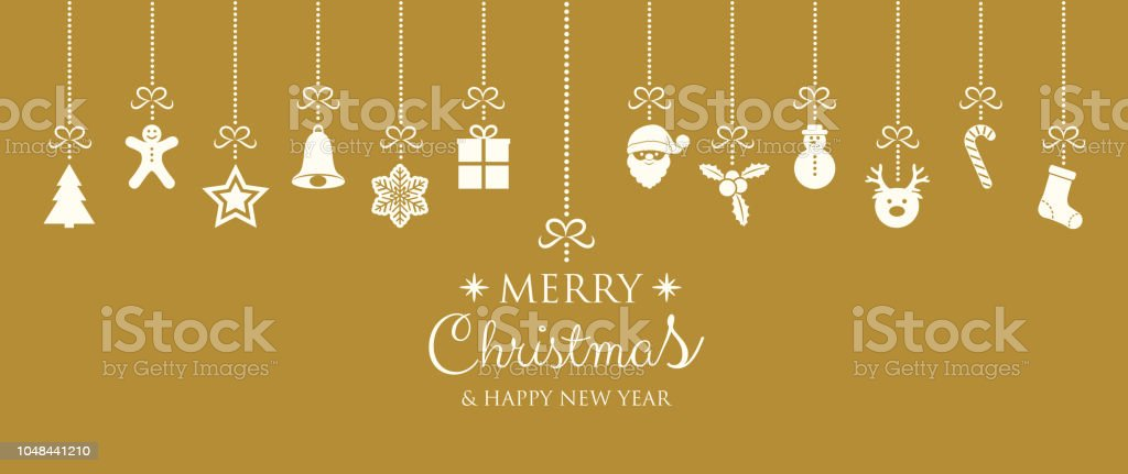 merry christmas and happy new year banner with ornaments vector royalty free