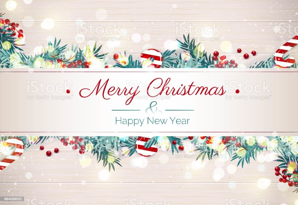 merry christmas and happy new year banner with snowflakes branches berries and christmas decoration