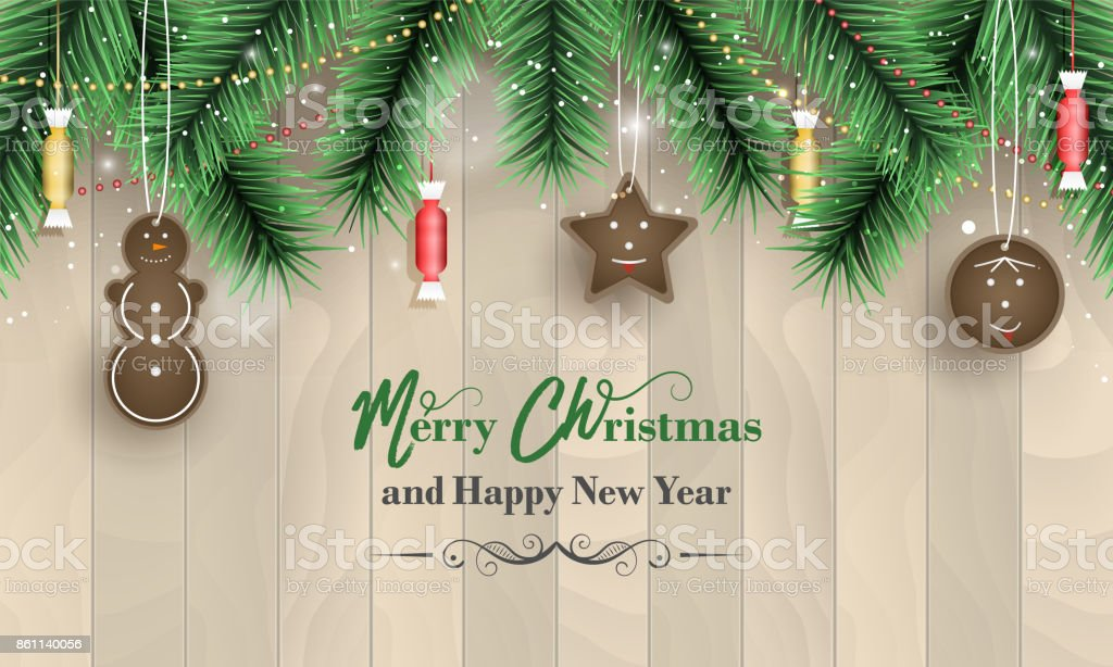 merry christmas and happy new year banner with wooden pattern green branches snowfall