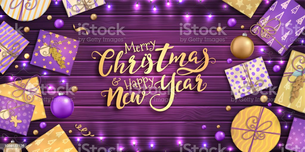 merry christmas and happy new year beautiful background with christmas decoration purple and gold