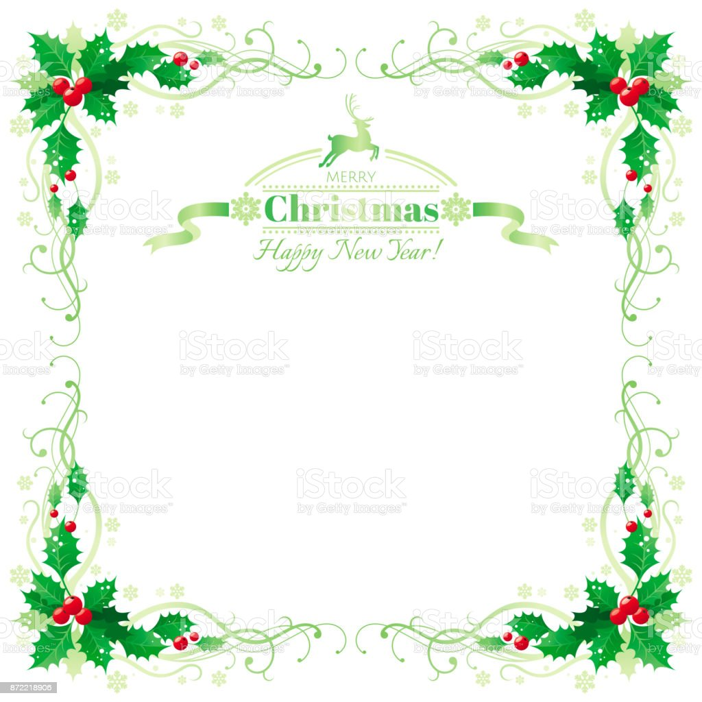 Merry Christmas And Happy New Year Border Frame With Holly Berry ...