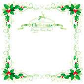 Merry Christmas and Happy new Year border frame with holly berry leafs. Text lettering reindeer symbol. Isolated on white background. Abstract poster, greeting card design template. Vector illustration