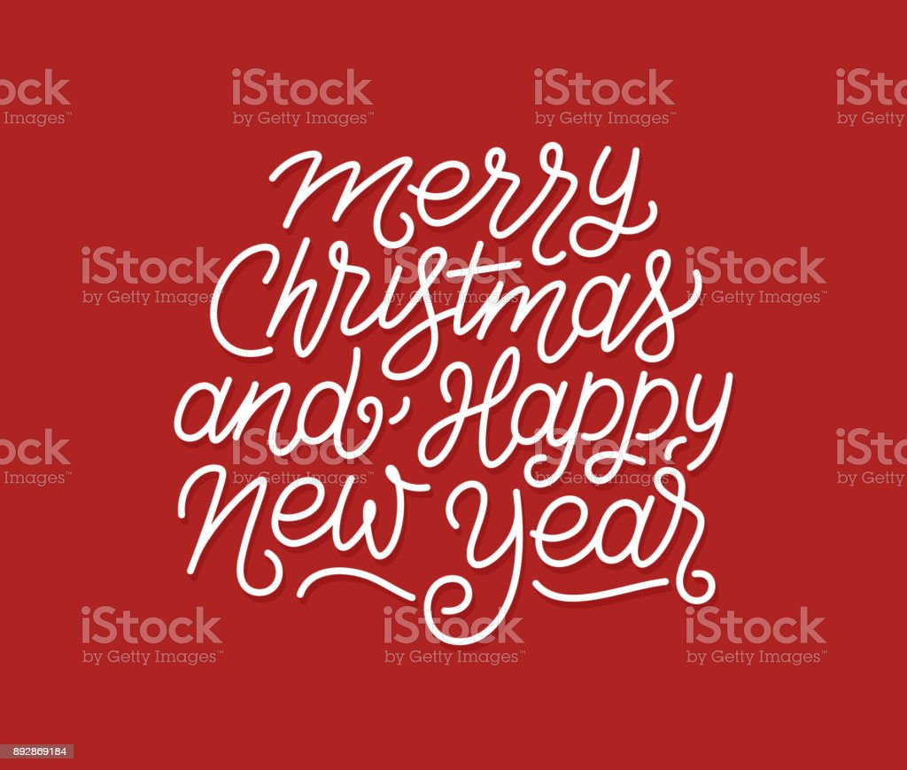 Merry Christmas And Happy New Year Calligraphic Line Art Style