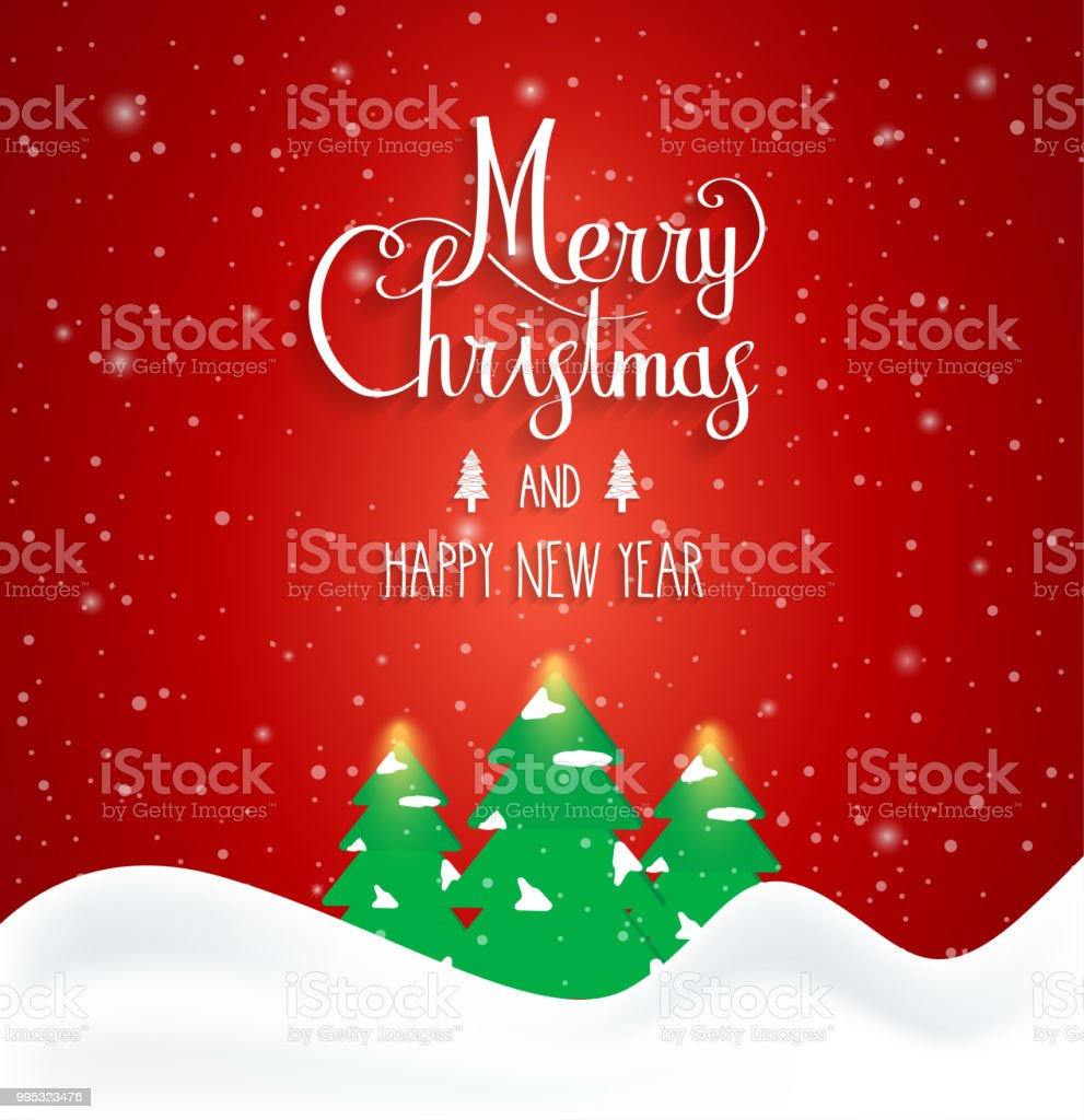 Merry Christmas And Happy New Year Card Banner Winter Landscape ...
