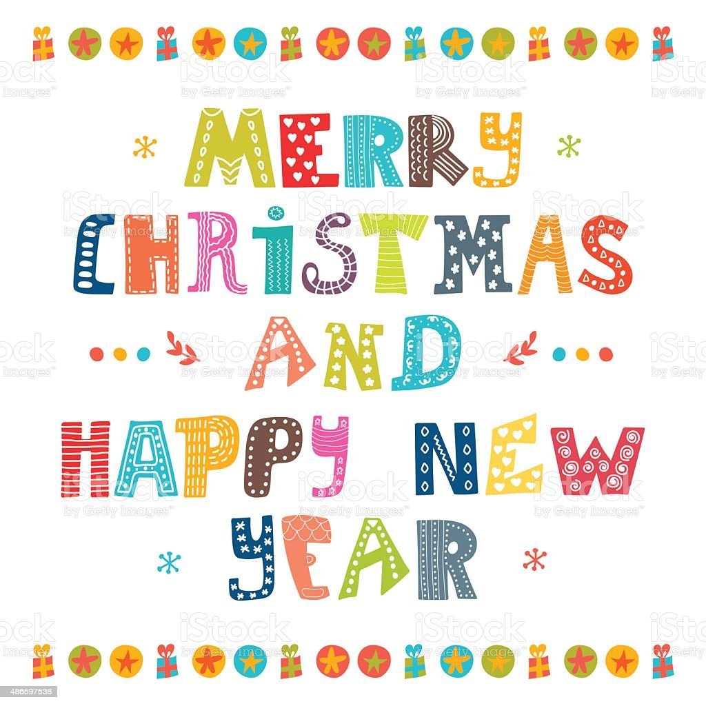 Merry Christmas And Happy New Year Card Card Design Stock Vector Art ...