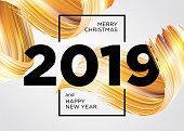 2019 Merry Christmas and Happy New Year Card Design. Vector Background with Acrylic Paint Design Element. Gold Oil Brush Stroke Texture. Abstract Liquid Brushstroke.