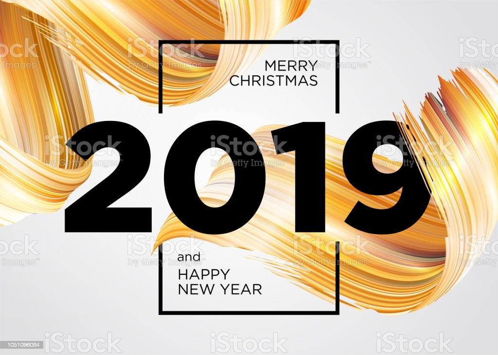 2019 Merry Christmas and Happy New Year Card Design. Vector Background with Acrylic Paint Design Element. Gold Oil Brush Stroke Texture. Abstract Liquid Brushstroke. vector art illustration