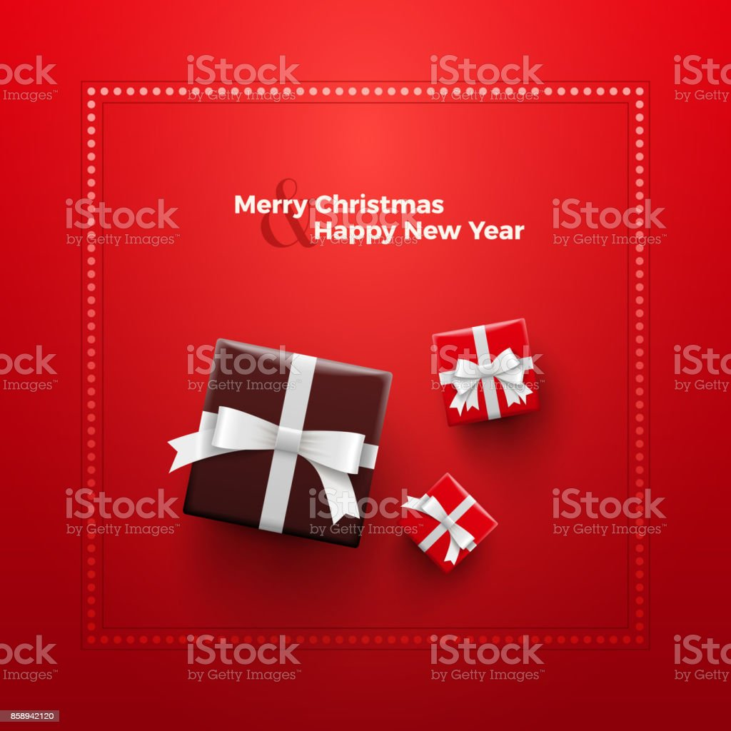 Merry Christmas and Happy New Year Card design vector art illustration