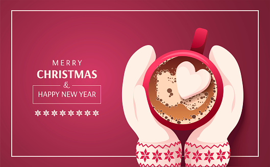 Merry Christmas and Happy New Year card. Hands in mittens with mug on the red background.