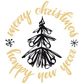 istock Merry Christmas and happy new year card 1286030429