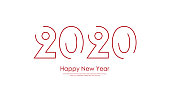 Merry Christmas and Happy New Year card with 2020 lined text. Vector