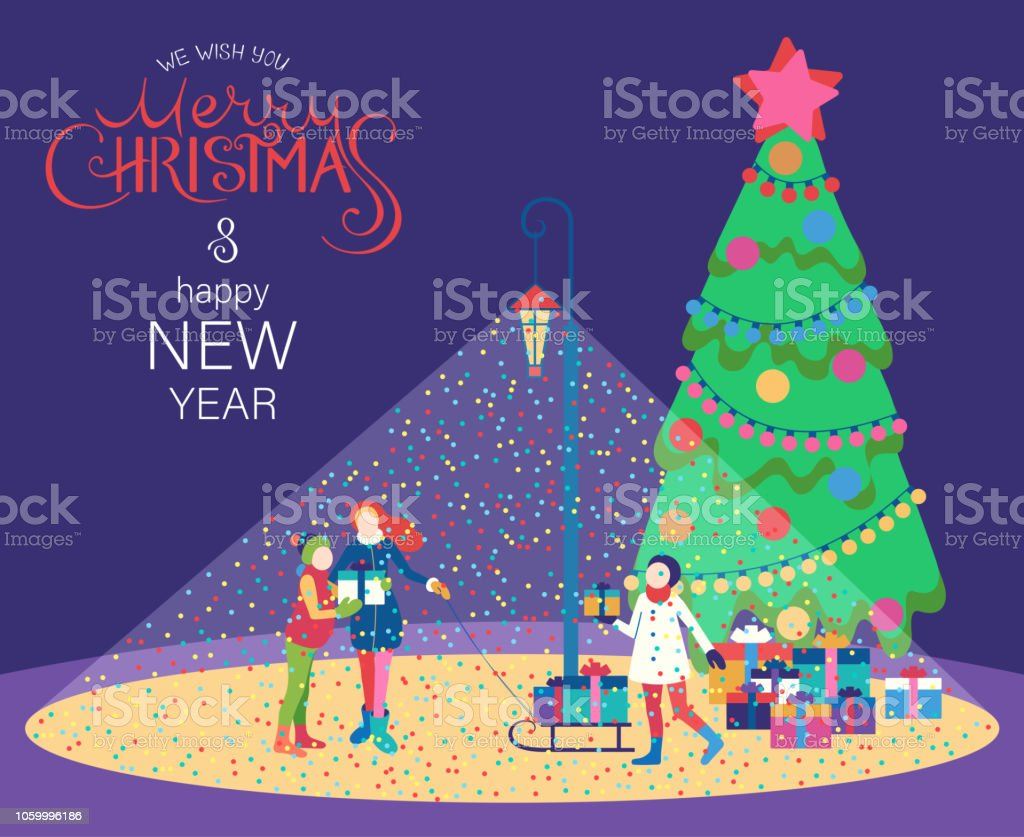 merry christmas and happy new year card with christmas tree and children with gifts royalty