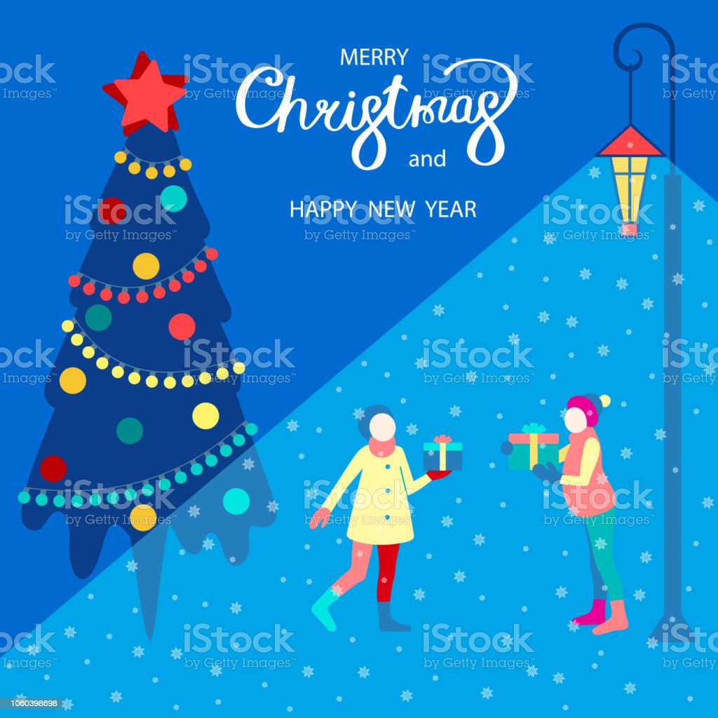 merry christmas and happy new year card with christmas tree and friends with gifts royalty