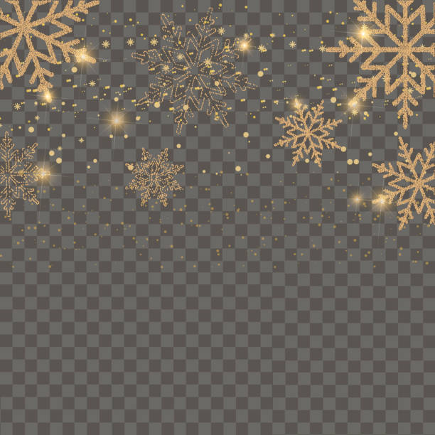 Merry Christmas and Happy New Year card with golden snowflakes on transparent background. Vector Merry Christmas and Happy New Year card with golden snowflakes on transparent background. Vector. south caucasus stock illustrations