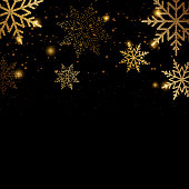 Merry Christmas and Happy New Year card with golden snowflakes. Vector background
