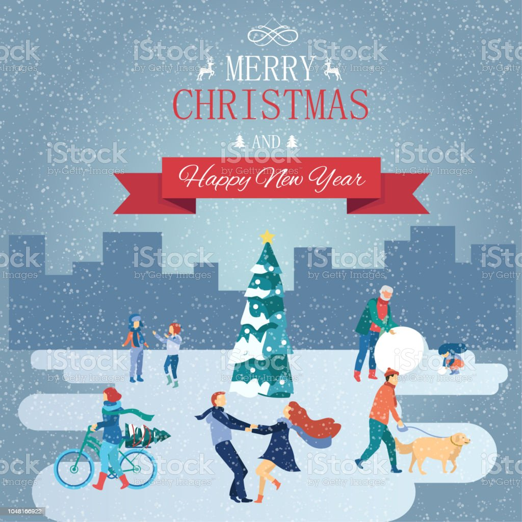 merry christmas and happy new year card with winter cityscape and people royalty free