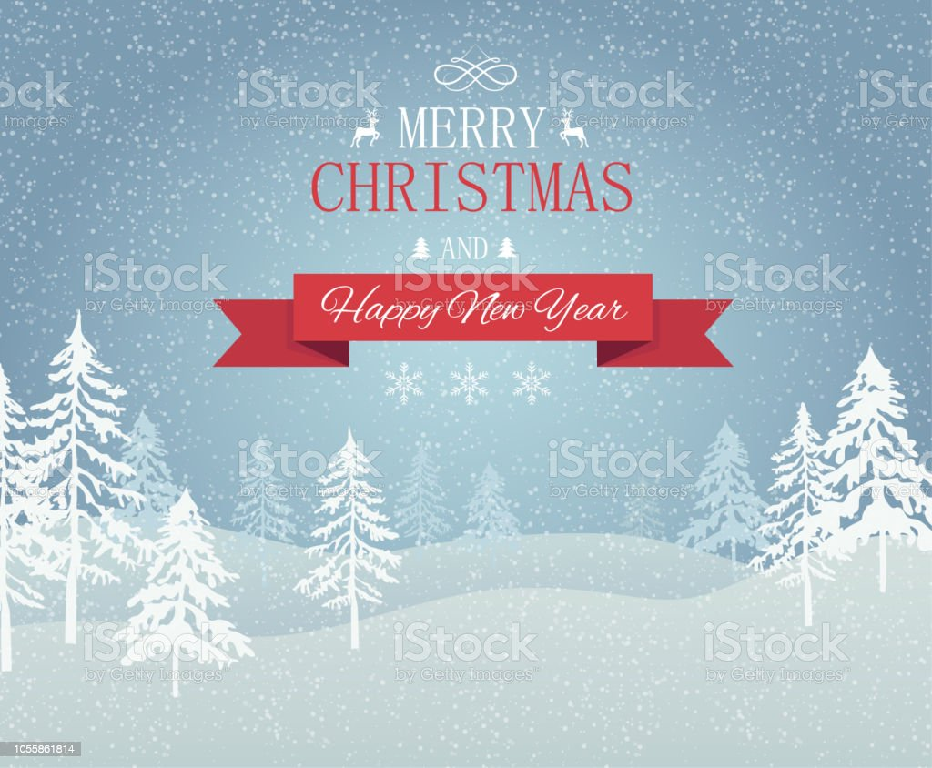 merry christmas and happy new year card with winter landscape royalty free merry christmas