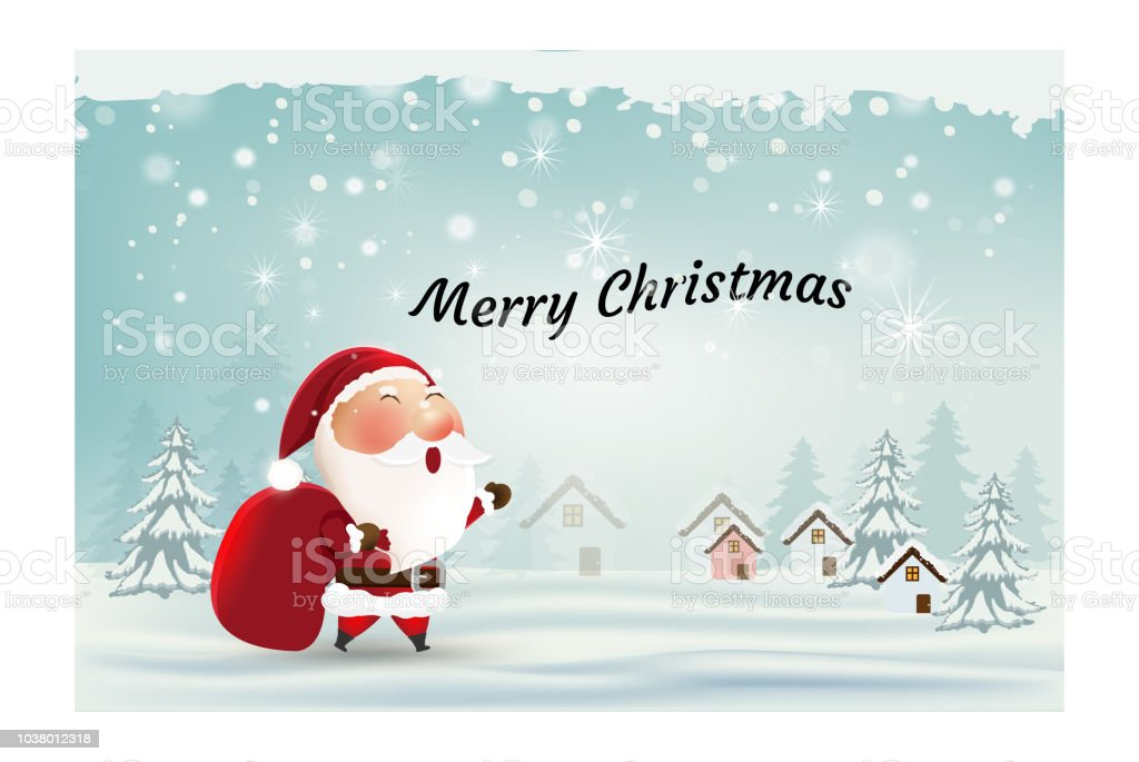 Frohe Weihnachten Und Happy New Year Karte Weihnachtsmann ...